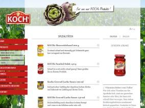 Strona www Kochs - katalog produktów