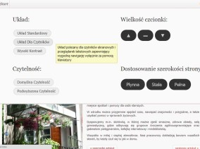 Strona www Ośrodka Nowolipie zgodna z WCAG 2.0, zaprojektowana przez Entera Studio WWW - opcje dostępności