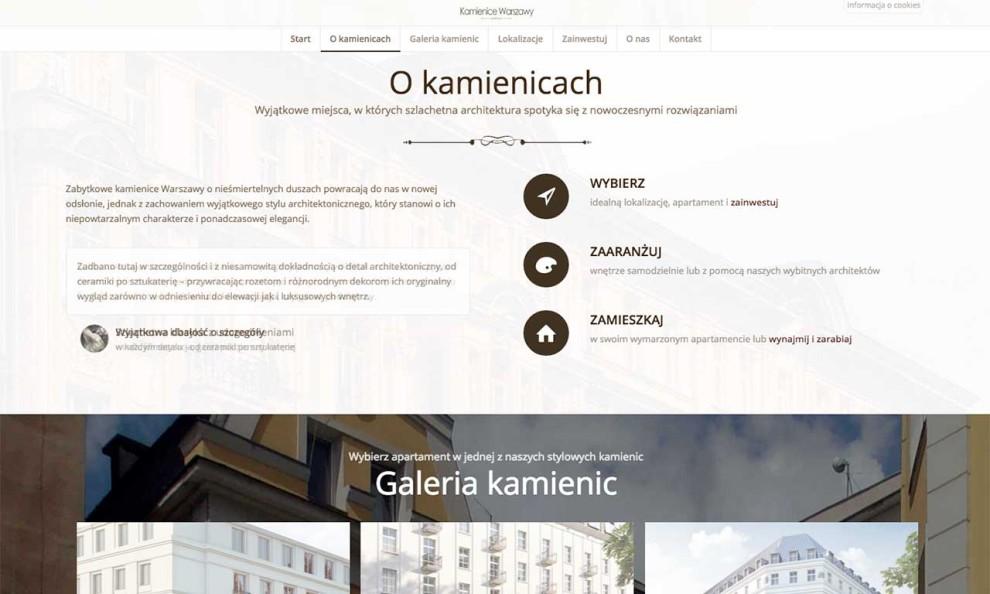 Kamienice Warszawy - strona zaprojektowana przez Entera Studio WWW - prezentacja oferty