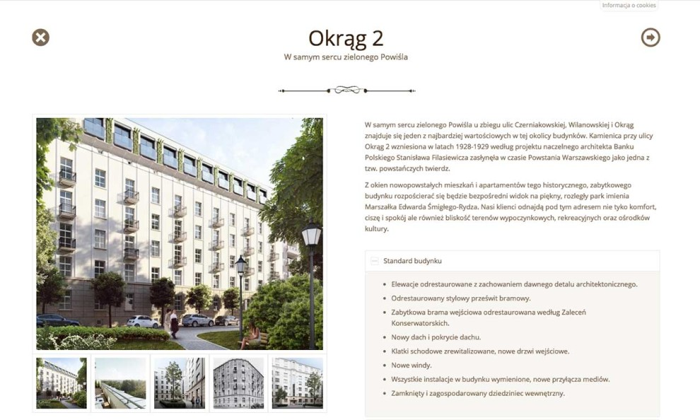 Kamienice Warszawy - strona zaprojektowana przez Entera Studio WWW - prezentacja kamienicy