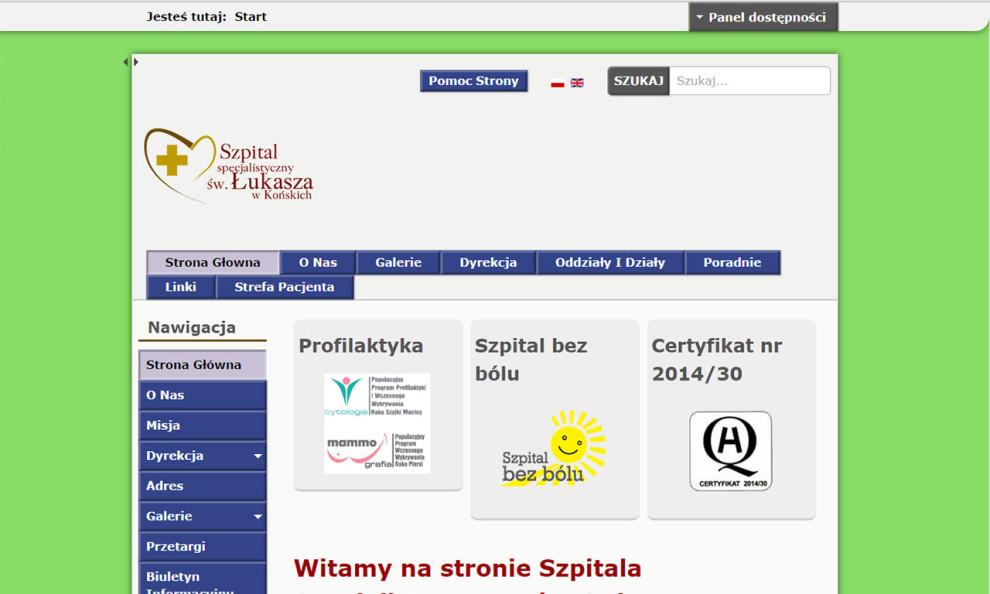 Strona WCAG 2.0 Szpitala w Końskich - podwyższona percepcja