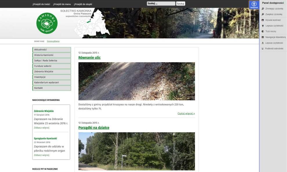 Kamionka - samorządowa strona zaprojektowana na zlecenie Gminy Piaseczno