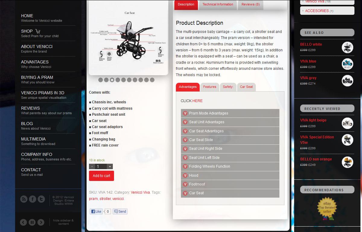 Firmowa strona www i sklep marki Venicci - karta produktu
