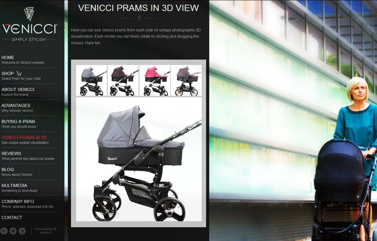 Firmowa strona www i sklep marki Venicci - produkty w 3D