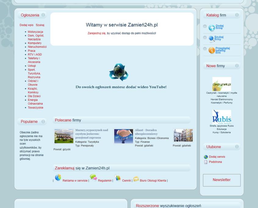 Portal ogłoszeniowy Zamien24 - strona główna