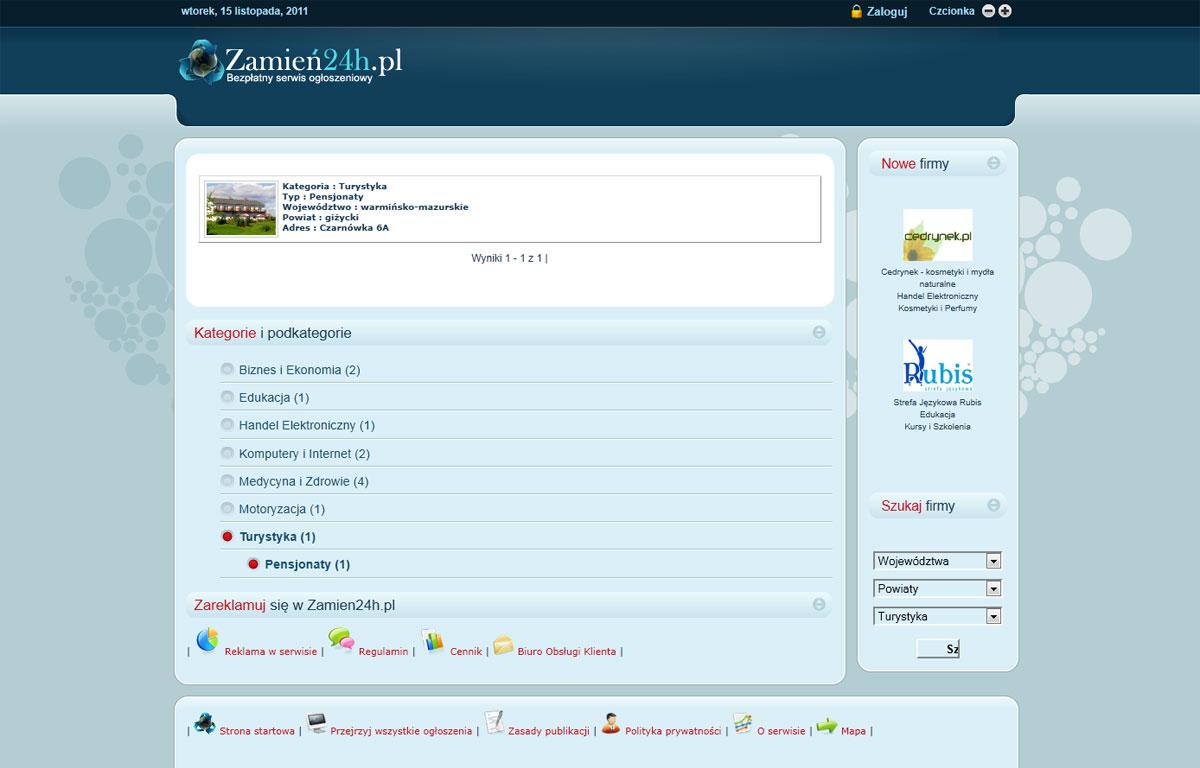 Portal ogłoszeniowy Zamien24 - kategorie