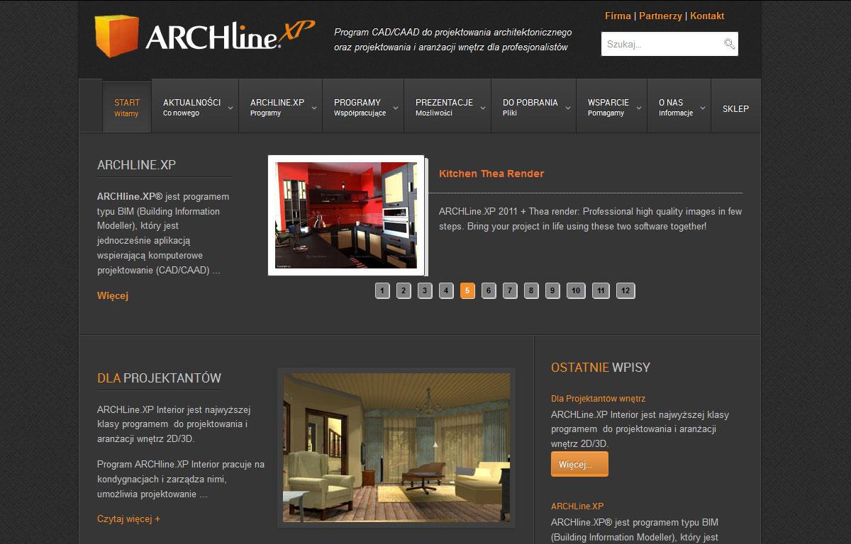 Strona www programu ArchlineXp - start