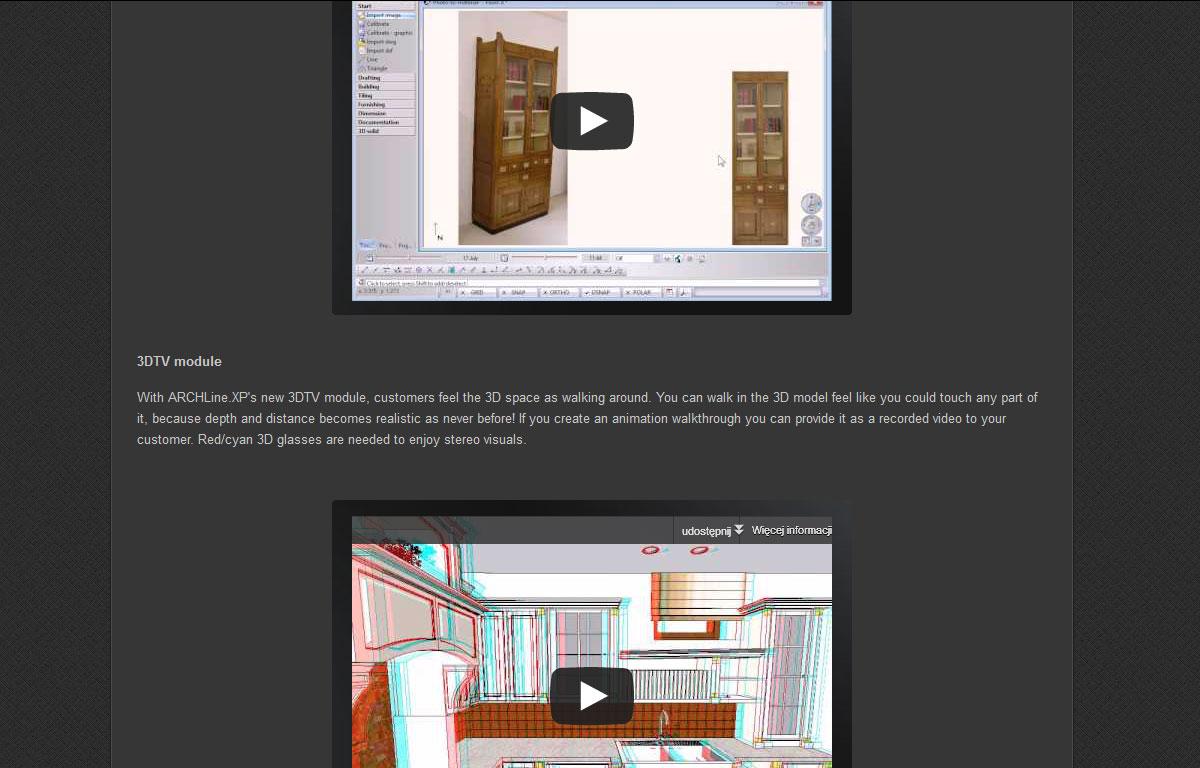 Strona www programu ArchlineXp - wideo edukacyjne
