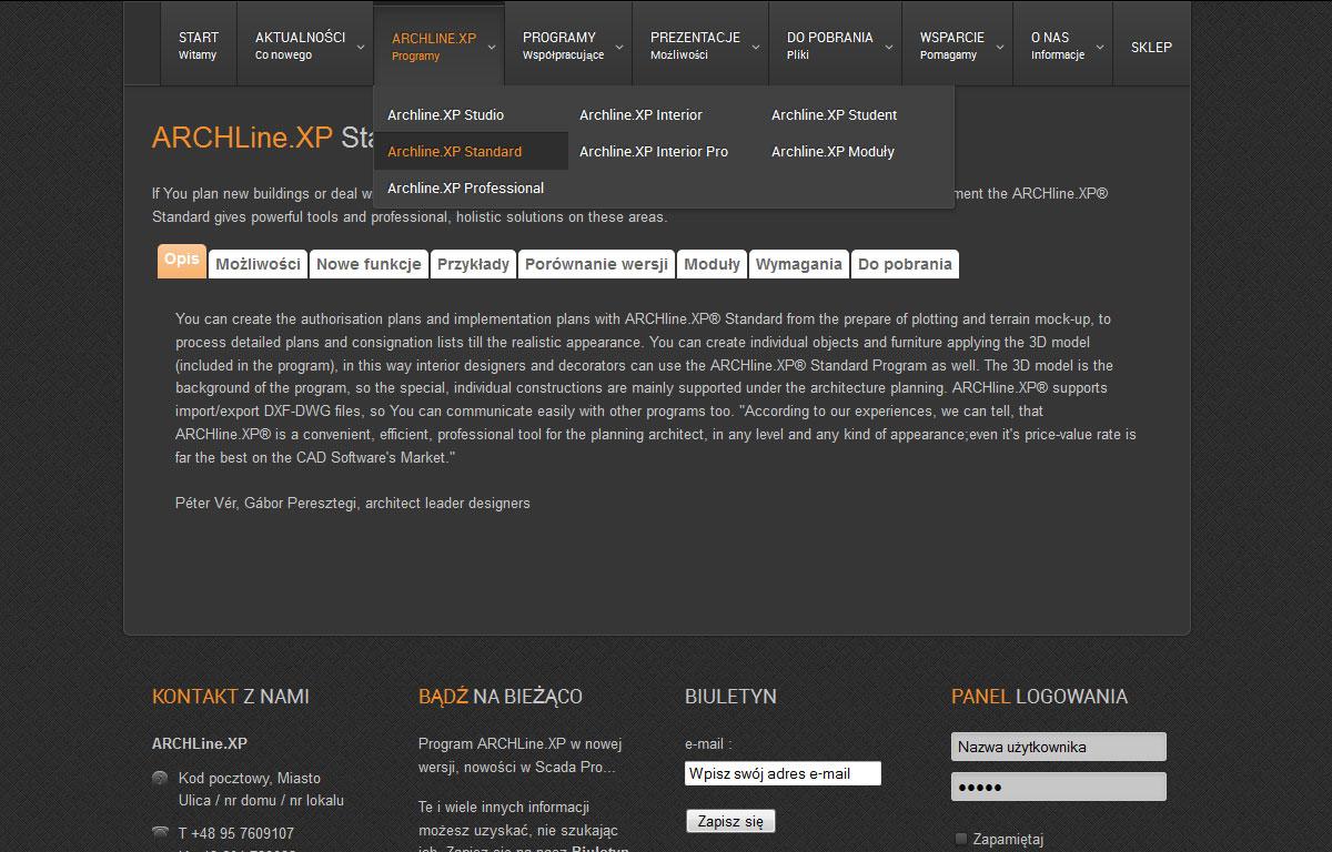 Strona www programu ArchlineXp - karta programu