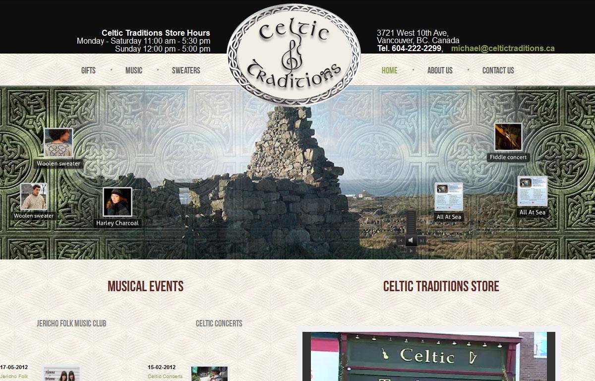 Sklep internetowy Celtic Traditions - strona startowa