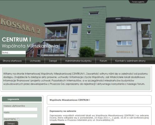 Portal dla Wspólnoty Mieszkaniowej Centrum I - strona startowa