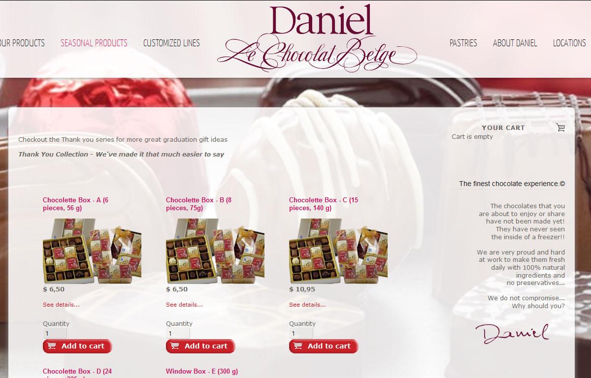 Sklep internetowy Daniel Le Chocolates Belge - prezentacja