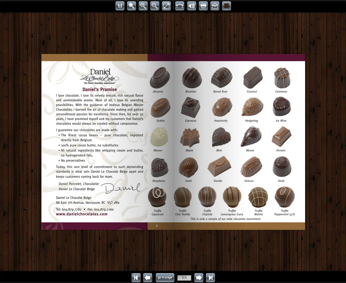 Katalog multimedialny Daniel Le Chocolates Belge
