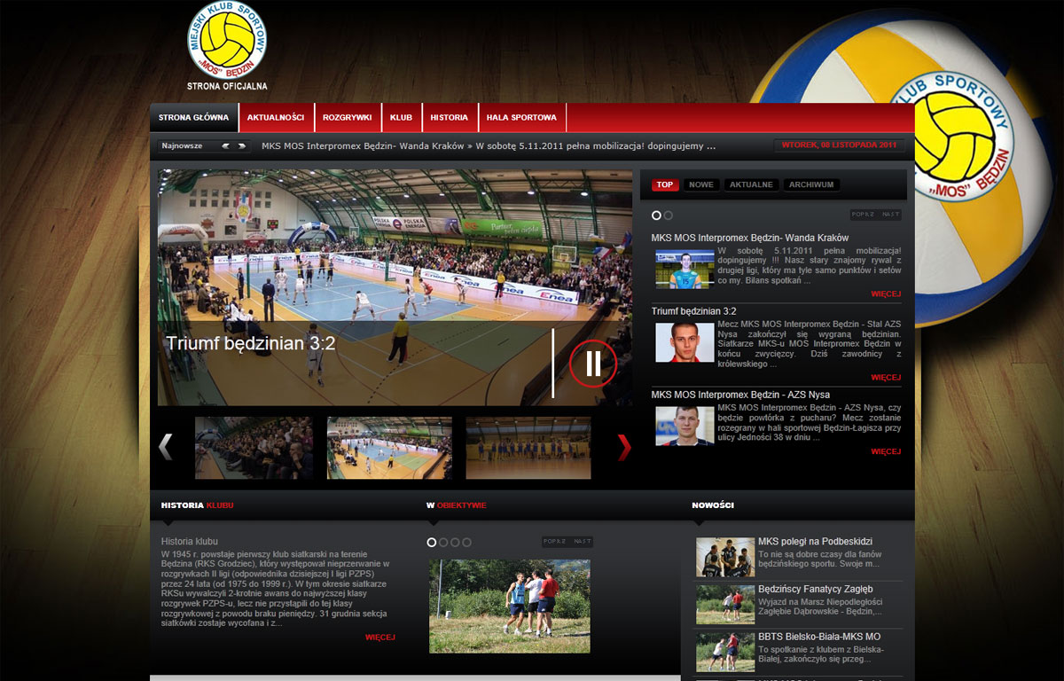 Portal dla pierwszoligowej drużyny siatkówki MKS-MOS Będzin - strona główna