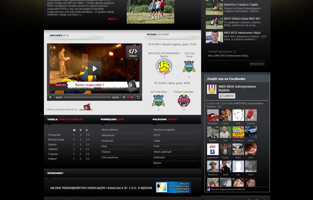 Portal dla pierwszoligowej drużyny siatkówki MKS-MOS Będzin - katalog meczów
