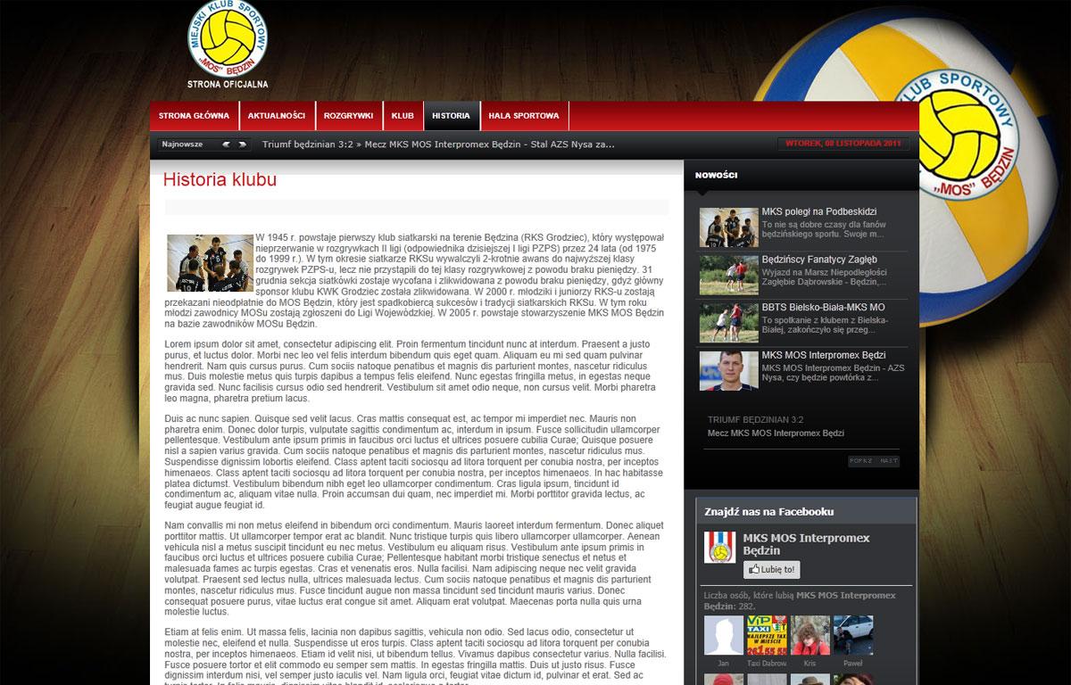 Portal dla pierwszoligowej drużyny siatkówki MKS-MOS Będzin - artykuły