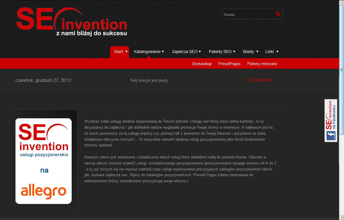 Sklep internetowy Seoinvention - strona główna