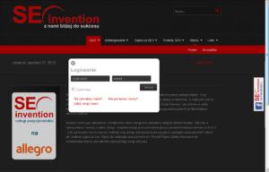 Sklep internetowy Seoinvention - logowanie