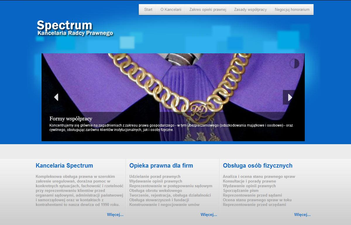 Strona www Kancelarii Prawnej Spectrum - strona główna