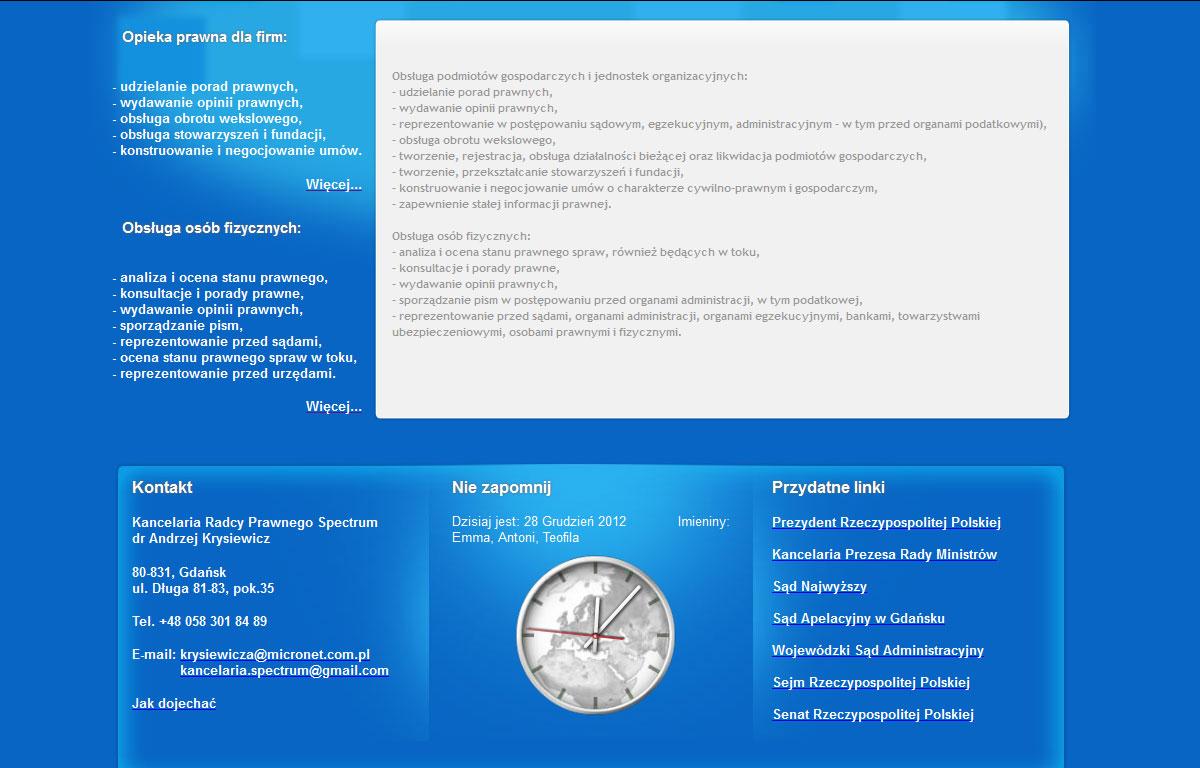 Strona www Kancelarii Prawnej Spectrum - oferta