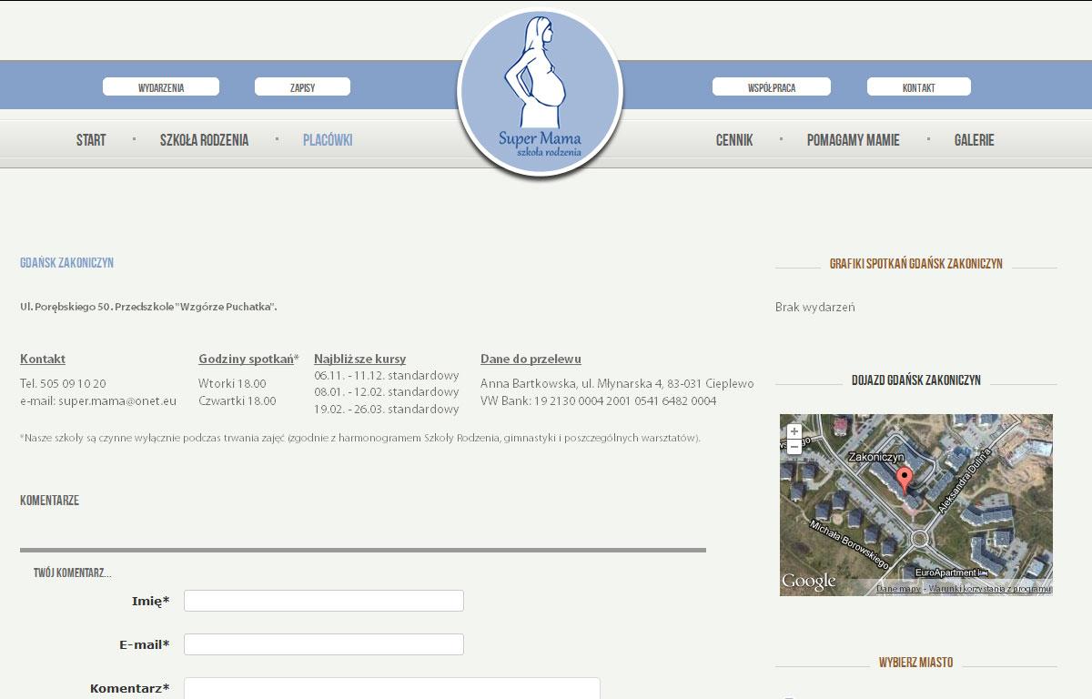 Strona www Szkoły Rodzenia Super Mama - kontakt