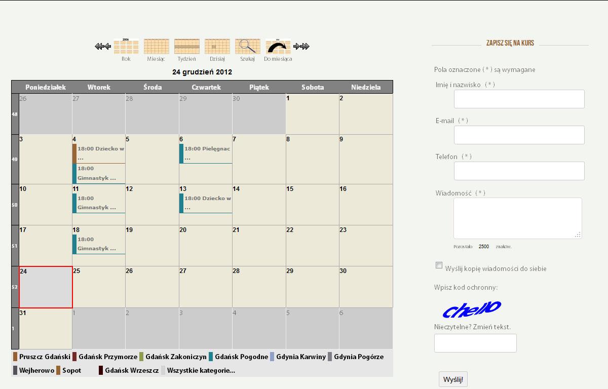 Strona www Szkoły Rodzenia Super Mama - kalendarz zajęć
