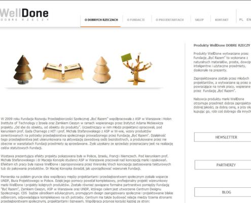 Strona www i sklep internetowy WellDone Dobre Rzeczy - strona startowa