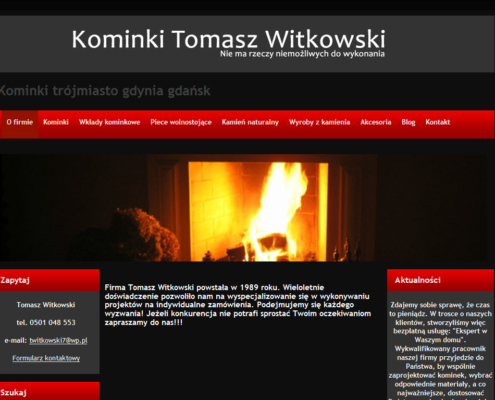 Strona www firmy Kominki Witkowski - start