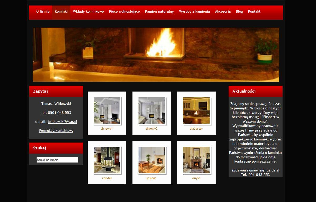 Strona www firmy Kominki Witkowski - galeria