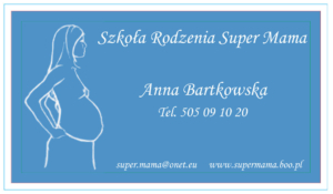 Wizytówka Sieci Szkół Rodzenia Super Mama - drugi wzór