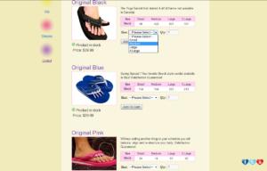 Sklep internetowy Yoga Sandals - warianty produktów