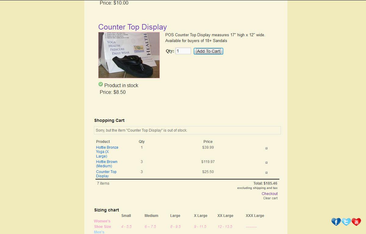Sklep internetowy Yoga Sandals - koszyk