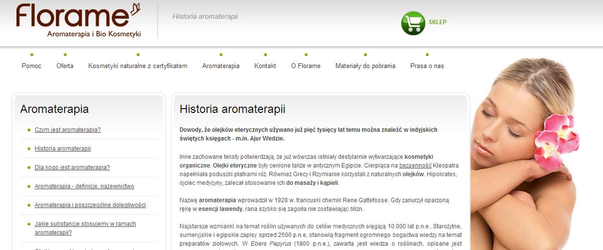 Entera Studio WWW pisze teksty na stronę www Florame