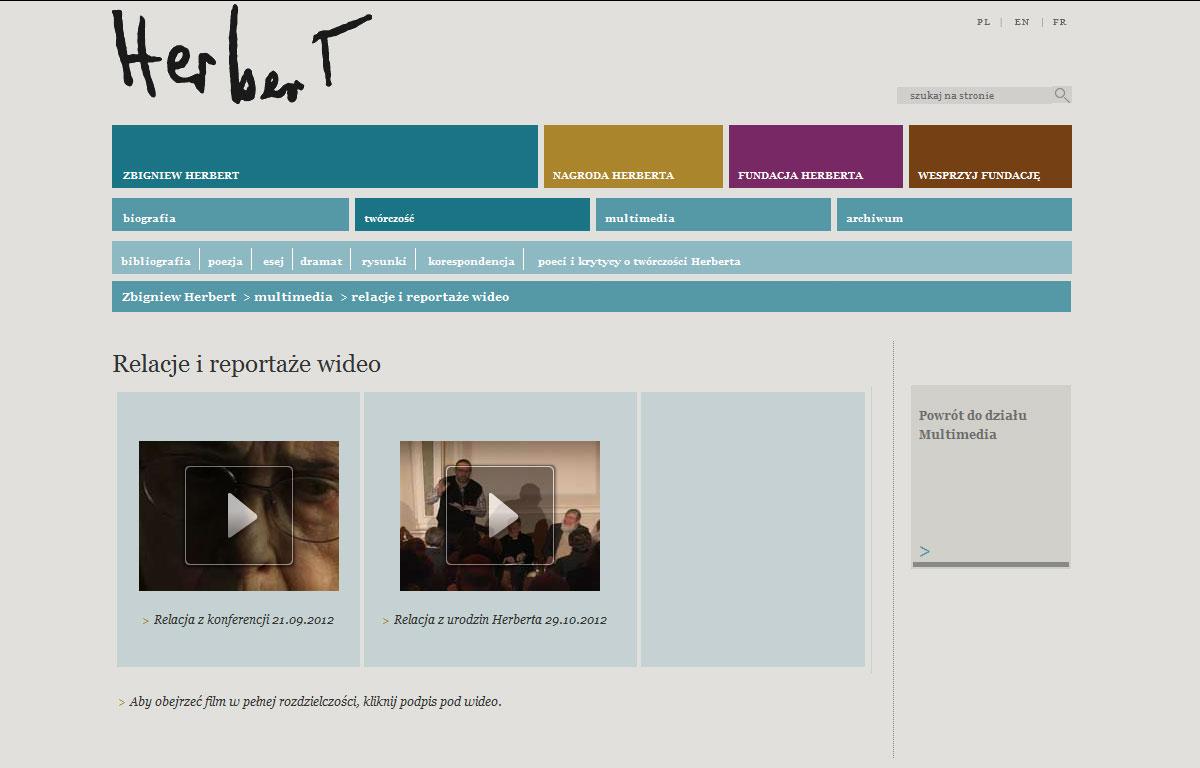 Portal internetowy Fundacji Herberta - wiadomości wideo