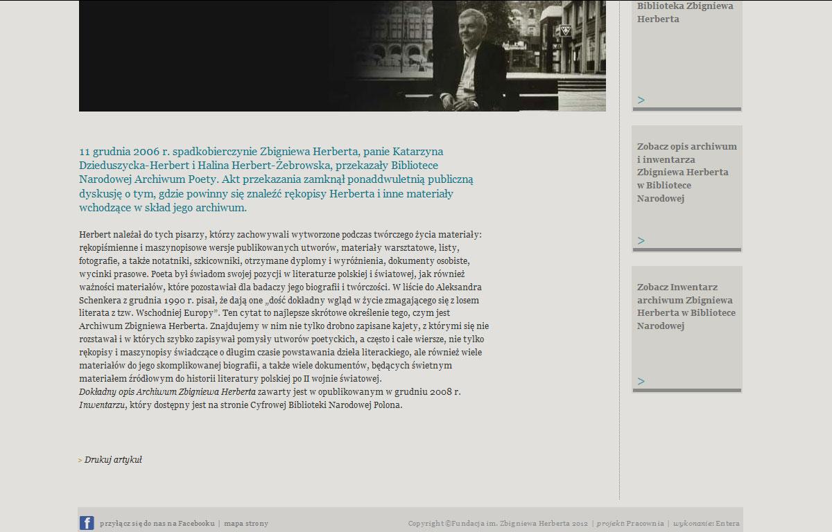 Portal internetowy Fundacji Herberta - baza artykułów