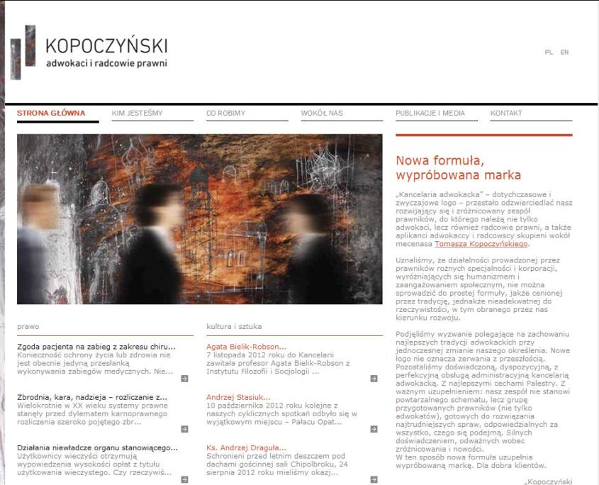Strona www kancelarii Kopoczynski adwokaci i radcowie prawni - strona główna