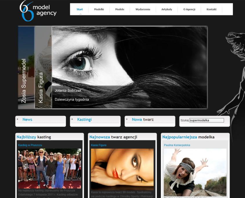 Strona www agencji modelingu 66Agency - strona główna