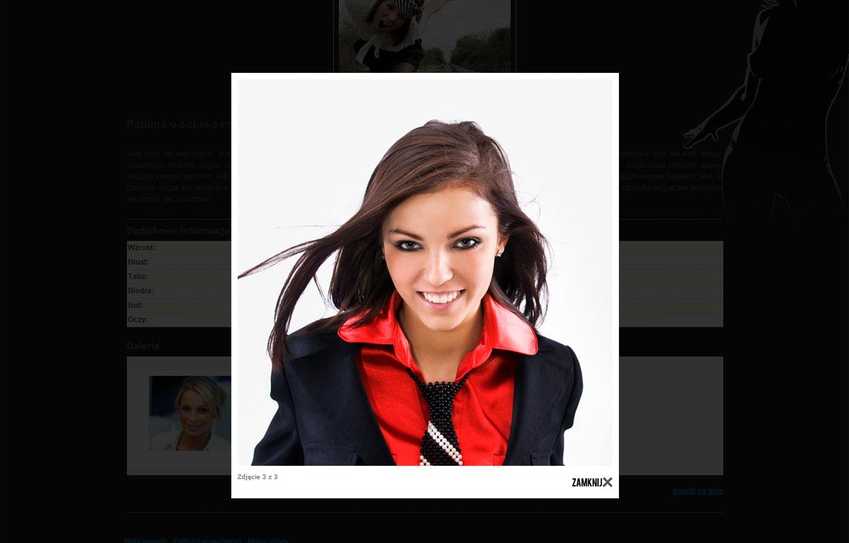 Strona www agencji modelingu 66Agency - portfolio twarzy