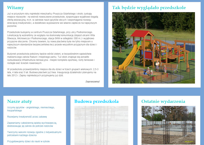 Strona www Przedszkola Nad Rzeczką - o przedszkolu