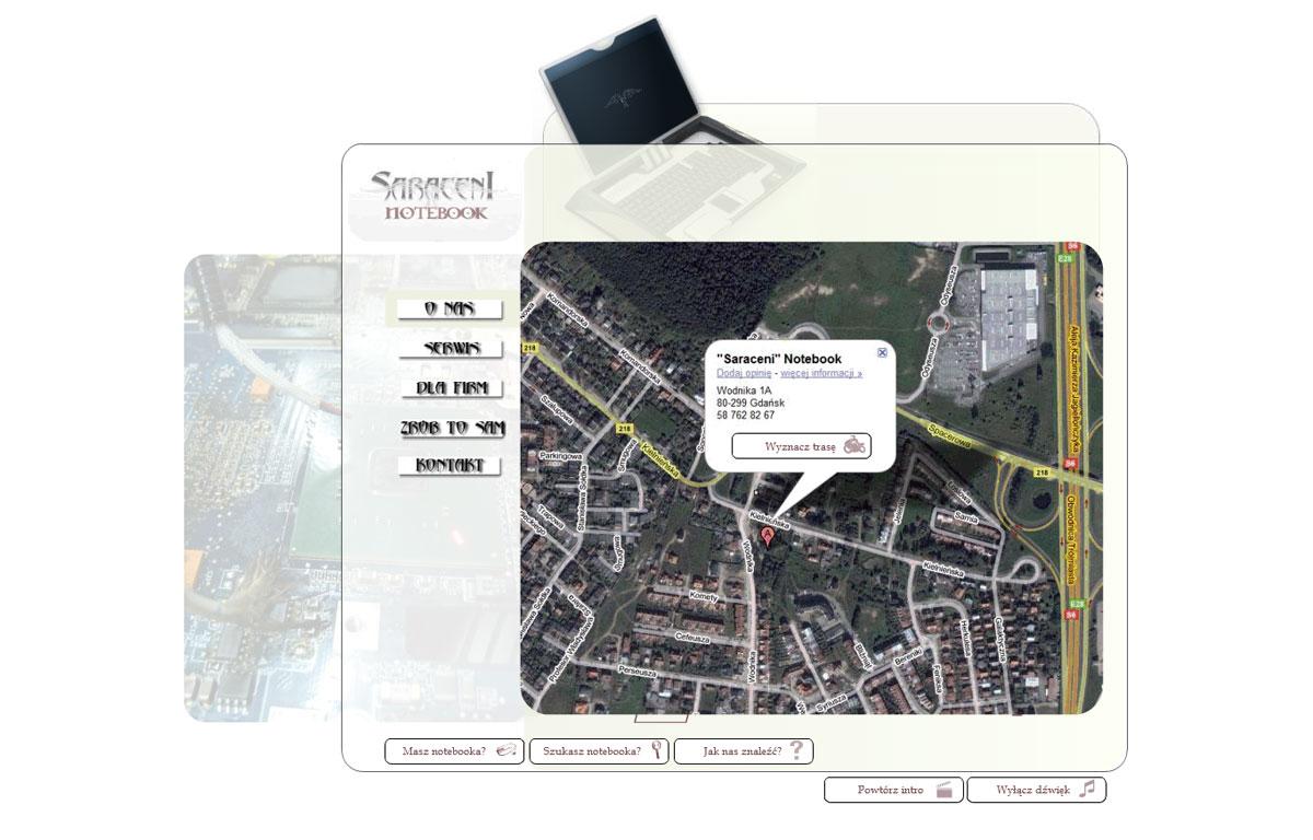 Strona www serwisu notebooków Saraceni - kontakt