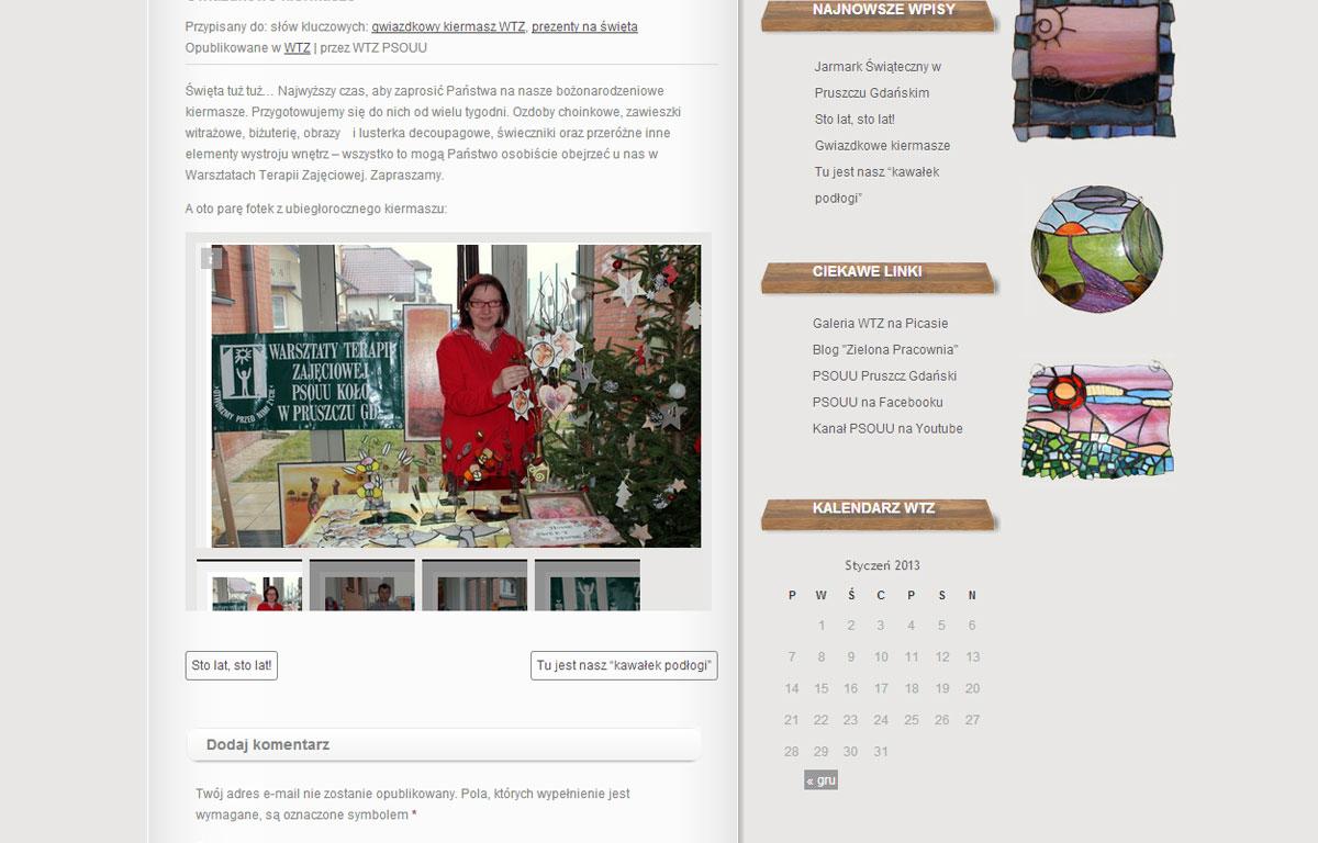 Blog WTZ PSOUU zaprojektowany przez Entera Studio WWW - wpis