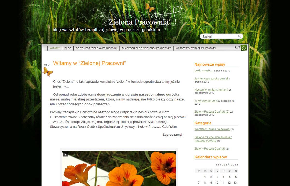 Zielona Pracownia to mini strona www zaprojektowana przez Entera Studio WWW - strona główna