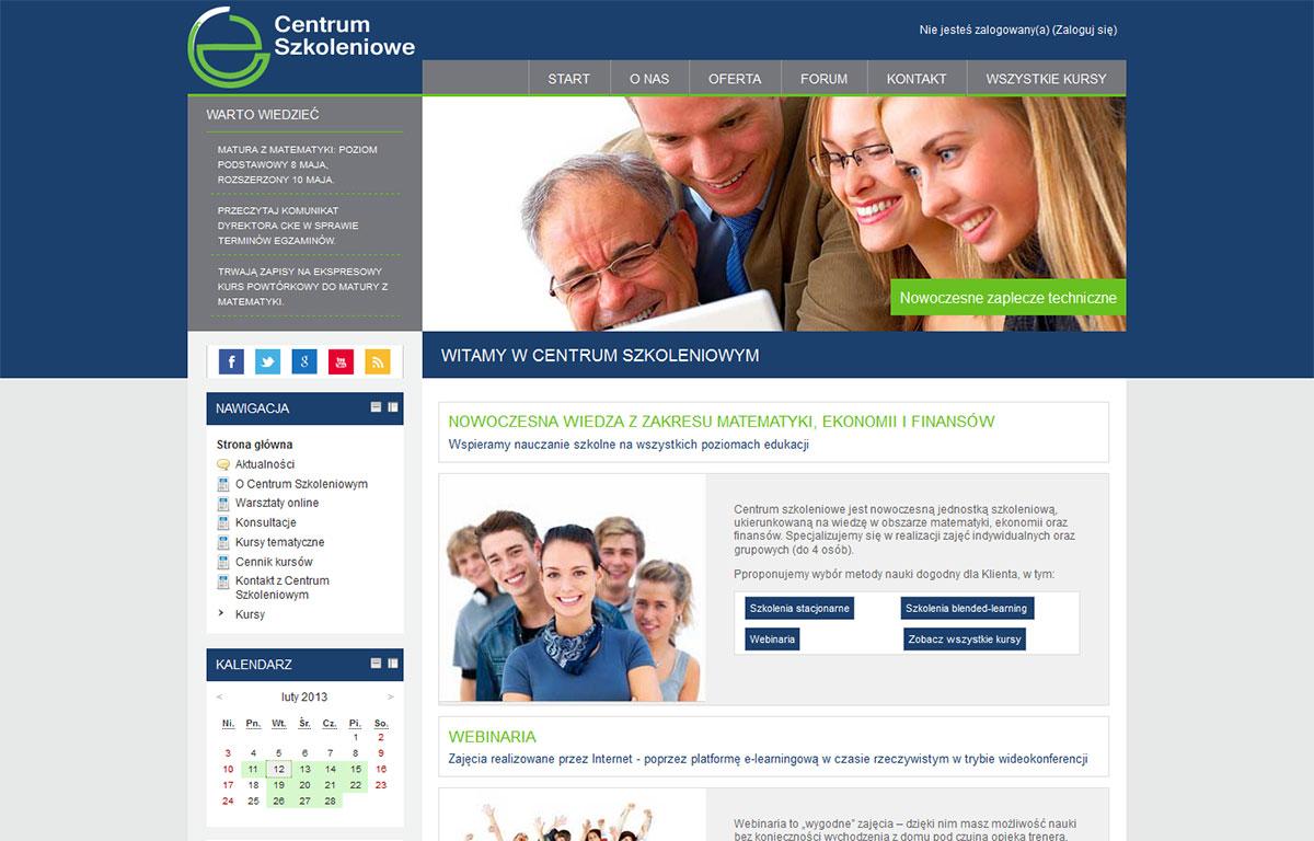 Platforma edukacyjna zaprojektowana przez Entera Studio WWW - strona startowa