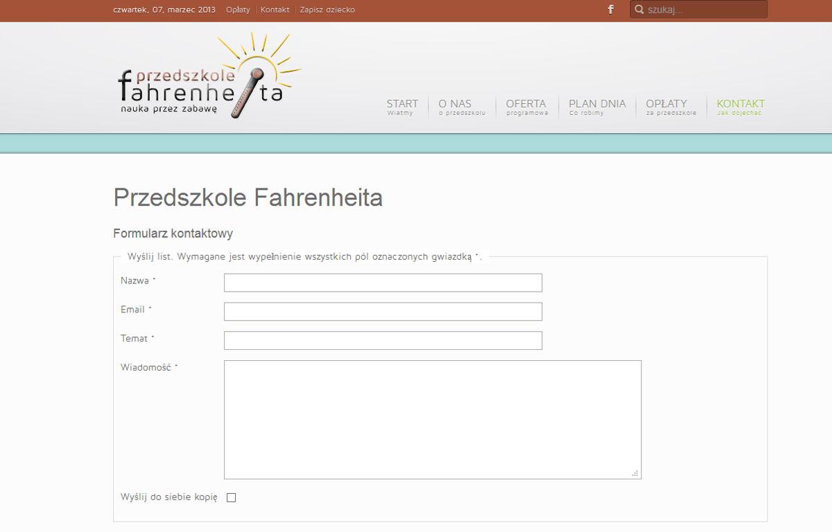 Strona www Przedszkola Fahrenheita zaprojektowana przez Entera Studio WWW - kontakt