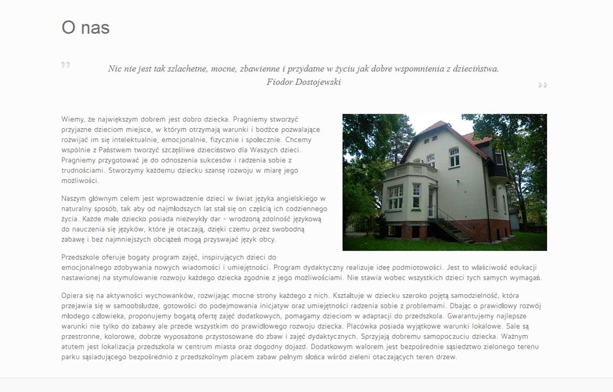 Strona www Przedszkola Fahrenheita zaprojektowana przez Entera Studio WWW - o przedszkolu