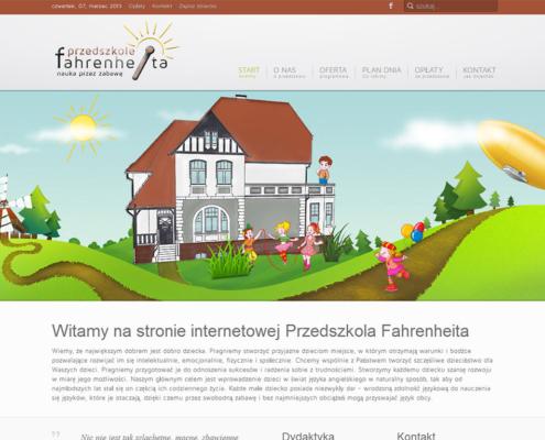 Strona www Przedszkola Fahrenheita zaprojektowana przez Entera Studio WWW - animowana strona startowa