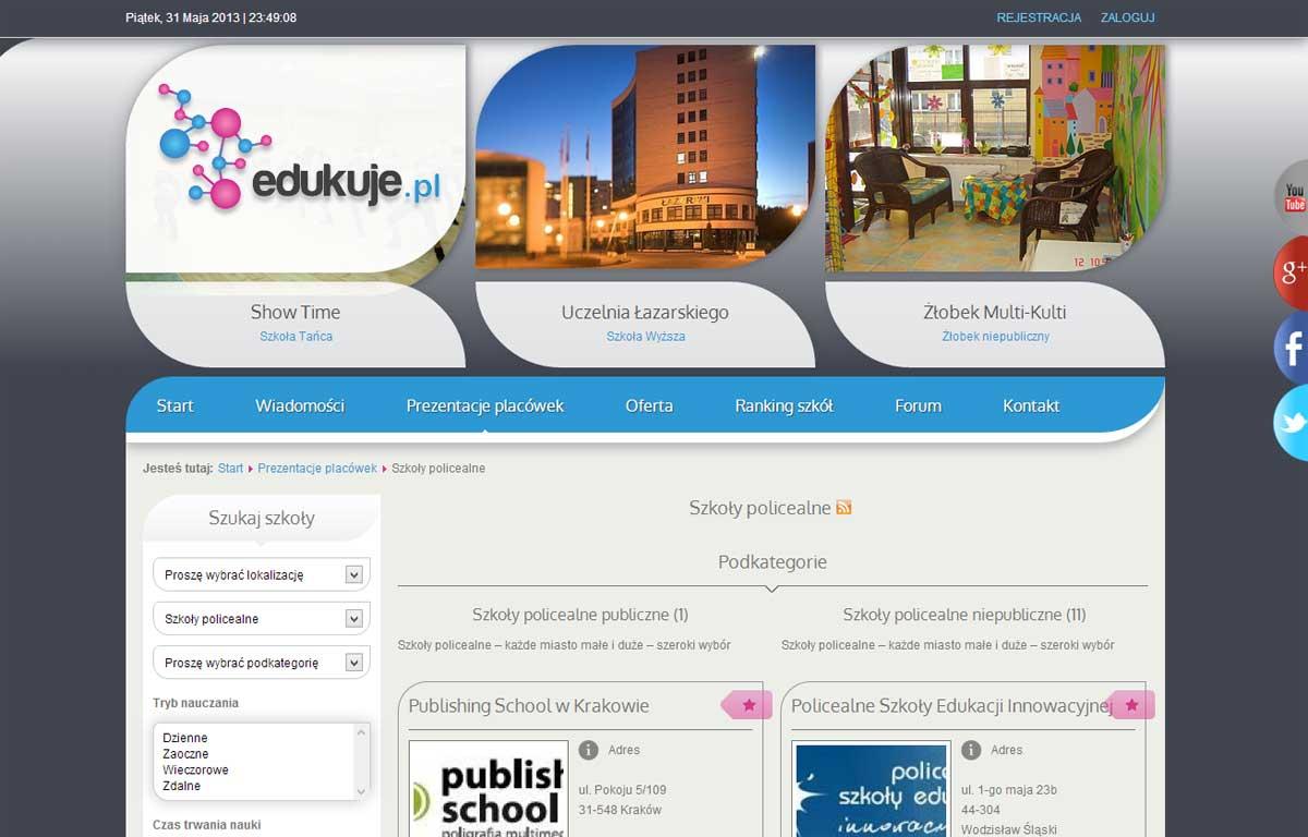 Portal edukuje.pl zaprojektowany przez Entera Studio WWW - strona startowa