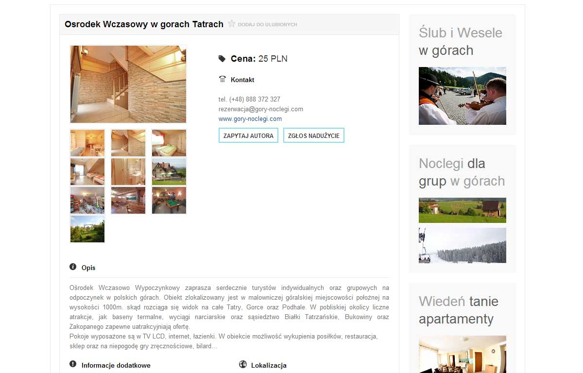 Katalog kwater eNoclegi.biz autorstwa Entera Studio WWW - ogłoszenie
