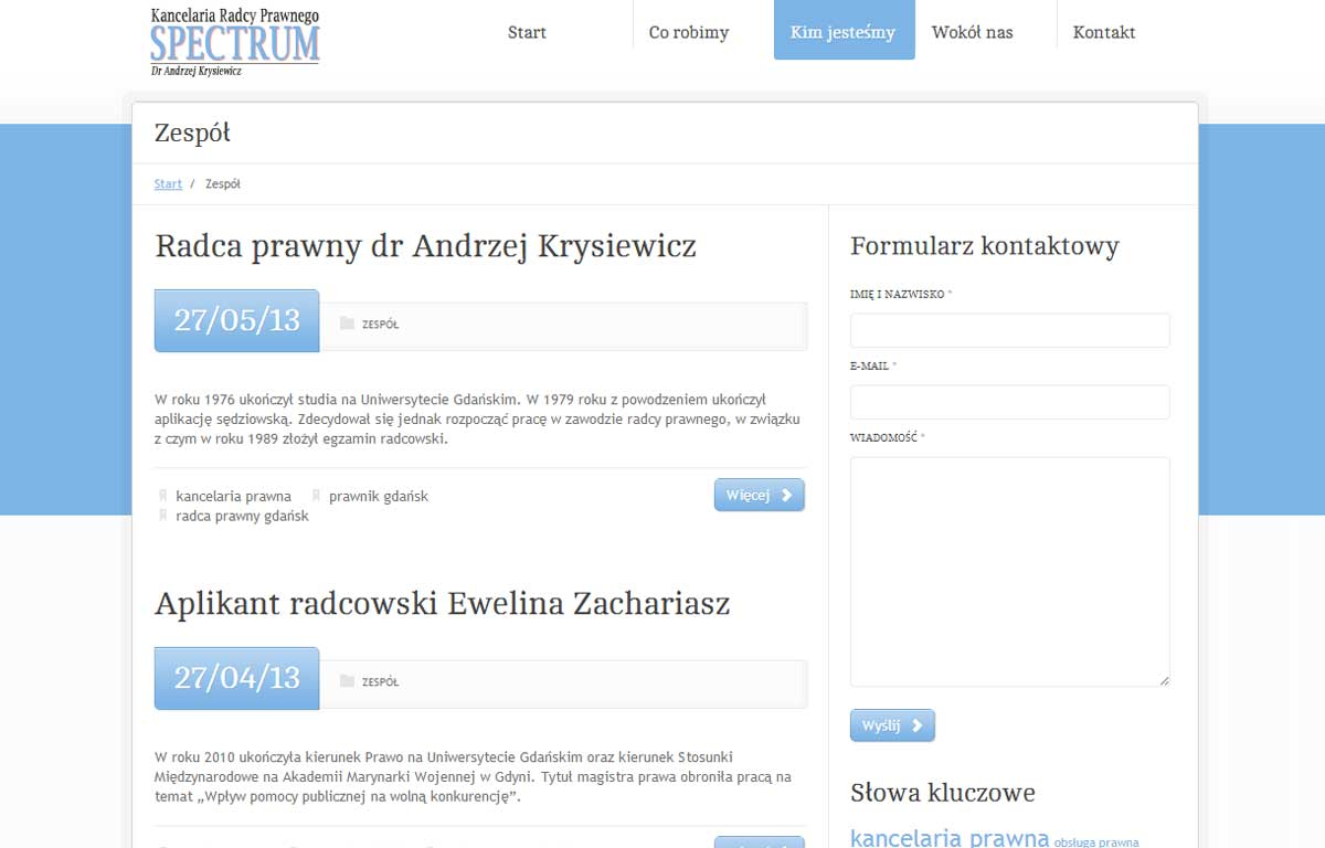 Nowa strona www Kancelarii Radcy Prawnego Spectrum, zaprojektowana przez Entera Studio WWW - zespół