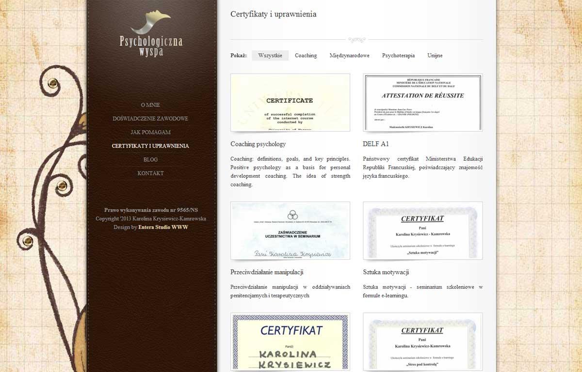 Personalna strona www lekarz-psycholog zaprojektowana przez Entera Studio WWW - katalog certyfikatów